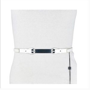 BCBG MAXAZIA white faux leather/silver buckle belt